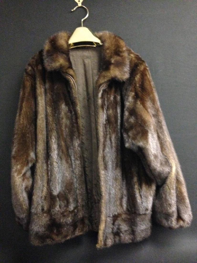 Mink Jacket With Zipper  Split Seam On Back Size