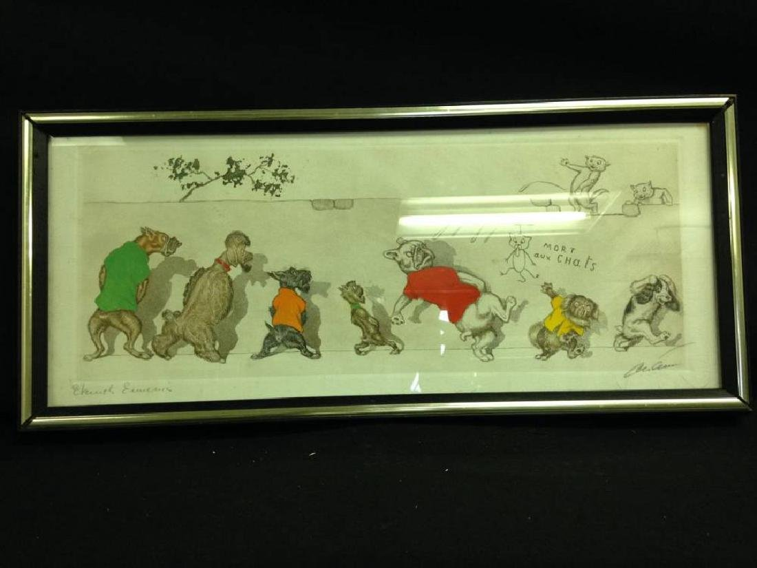 Signed Boris O'Klein Etching  Mort Aux Chats