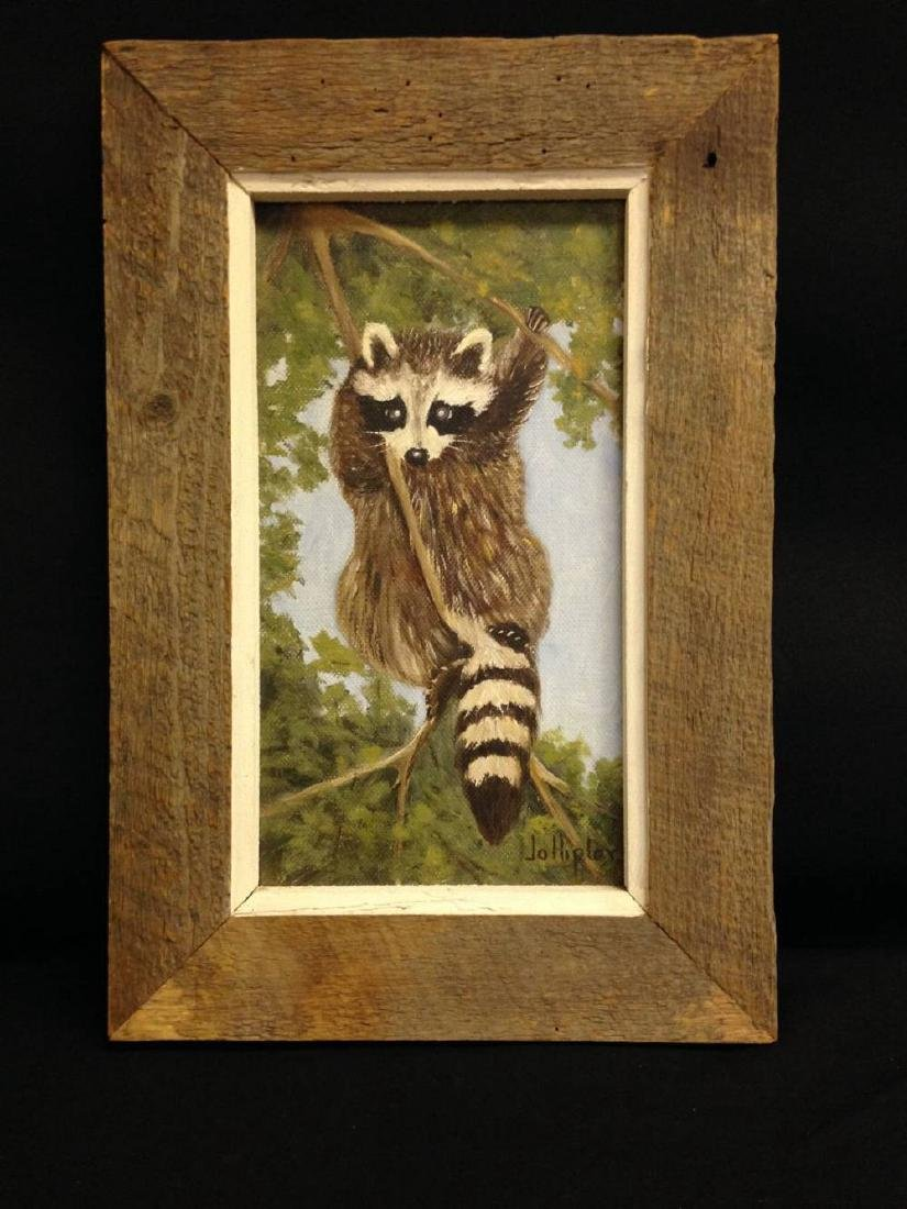 Original Jo Hipler Oil Painting Racoon