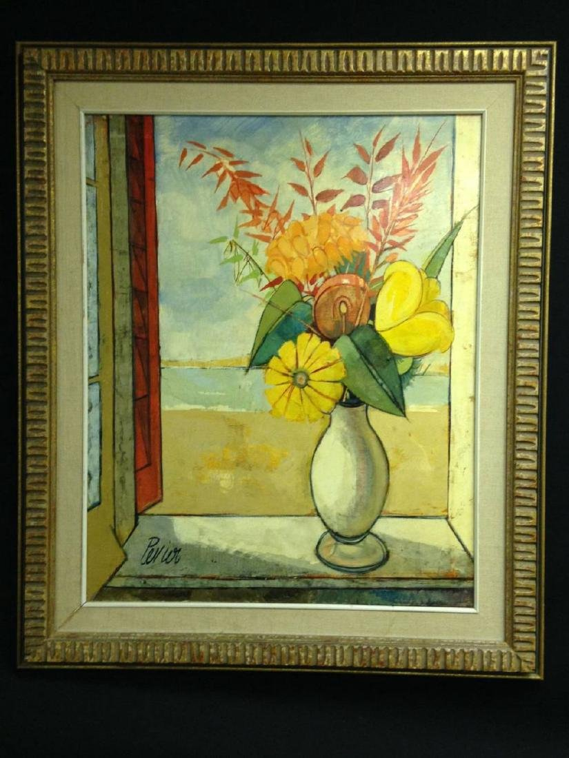 Charles Levier Signed Painting  Framed 38x32 Vase With