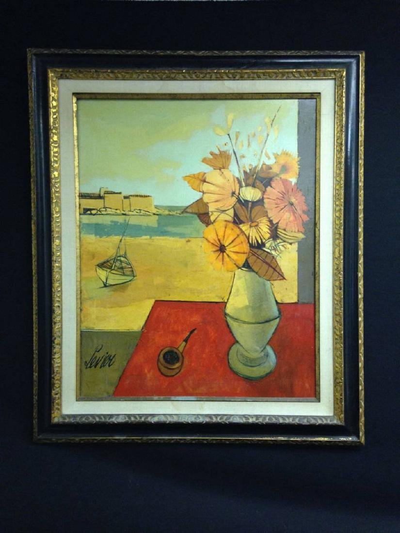 Charles Levier Signed Painting Framed Approx 39x33 Vase