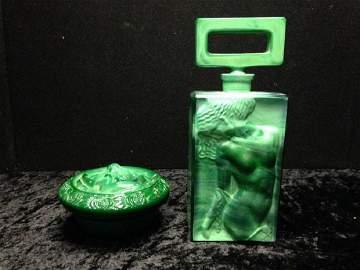 Pair Of Malachite Glass Pieces  7.75 Tall Perfume Jar