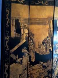 9 Panel Lacquer Asian Room Divider Screen 96Hx18W