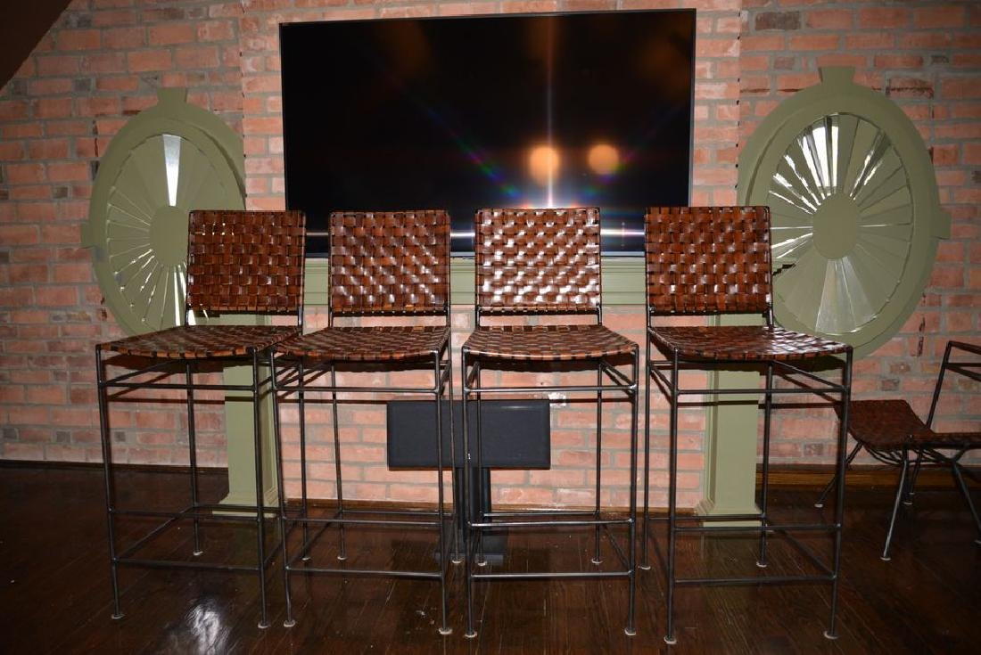 Lot Of 4 William Sheppee Woven Leather And Iron Bar   May 13, 2019    Invited Estate Sales By Tracy Jordan In NY