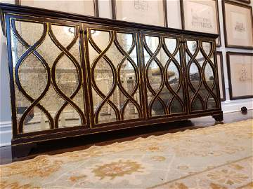 Elisabeth Buffet Hardwood, 4 Antiqued Mirrored Doors, 2