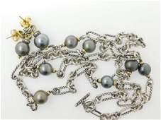 David Yurman Sterling Silver and Solari Pearl Necklace