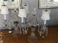 Pair of Clear Glass Luster Lamps 19x15 PICK UP IN SANDS