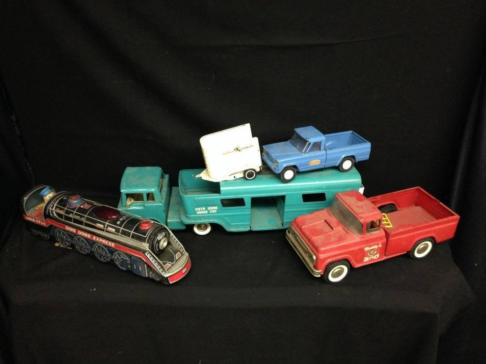 Lot Of 4 Toys Horse Van Red Pickup Blue Pickup And