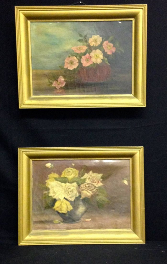 Pair Of Antique Oil On Canvas Paintings Floral Still