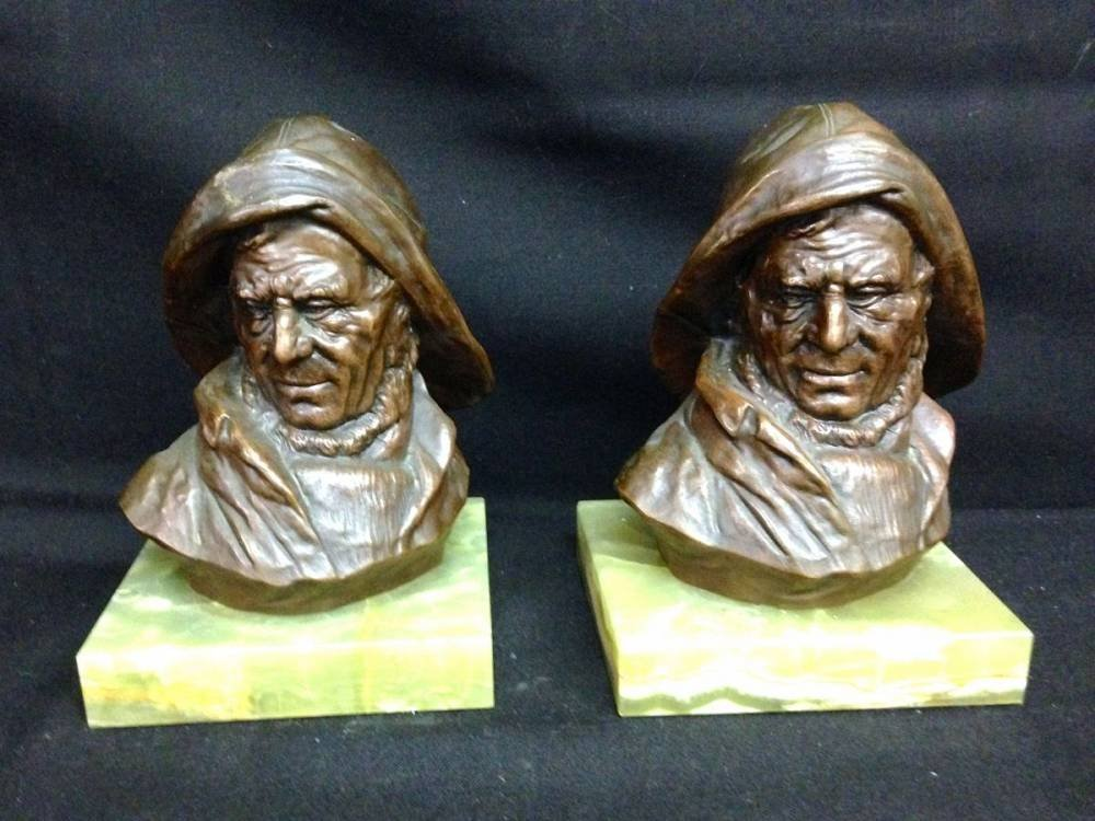 Bronze Clad And Onyx Bookends Approx 6.5 Inches Tall