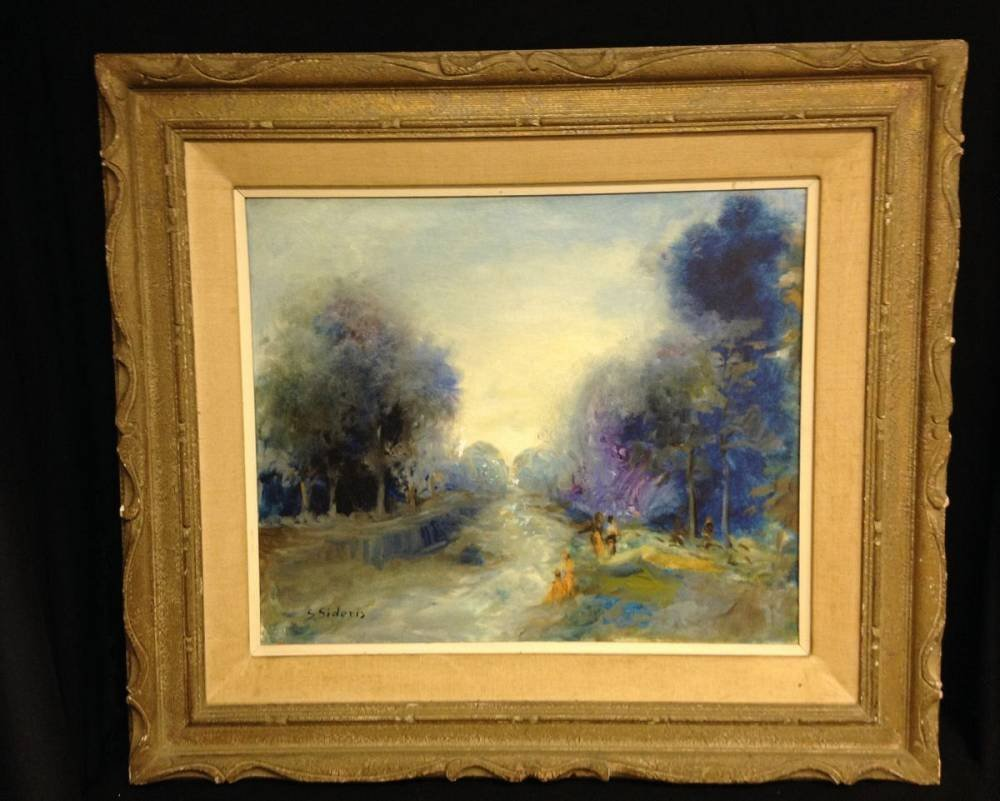 Signed S. Sideris Oil Painting Approx 34.5X31 Framed