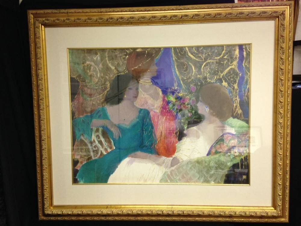 Framed Artwork Ladies Gathering Approx 48X42.5 No