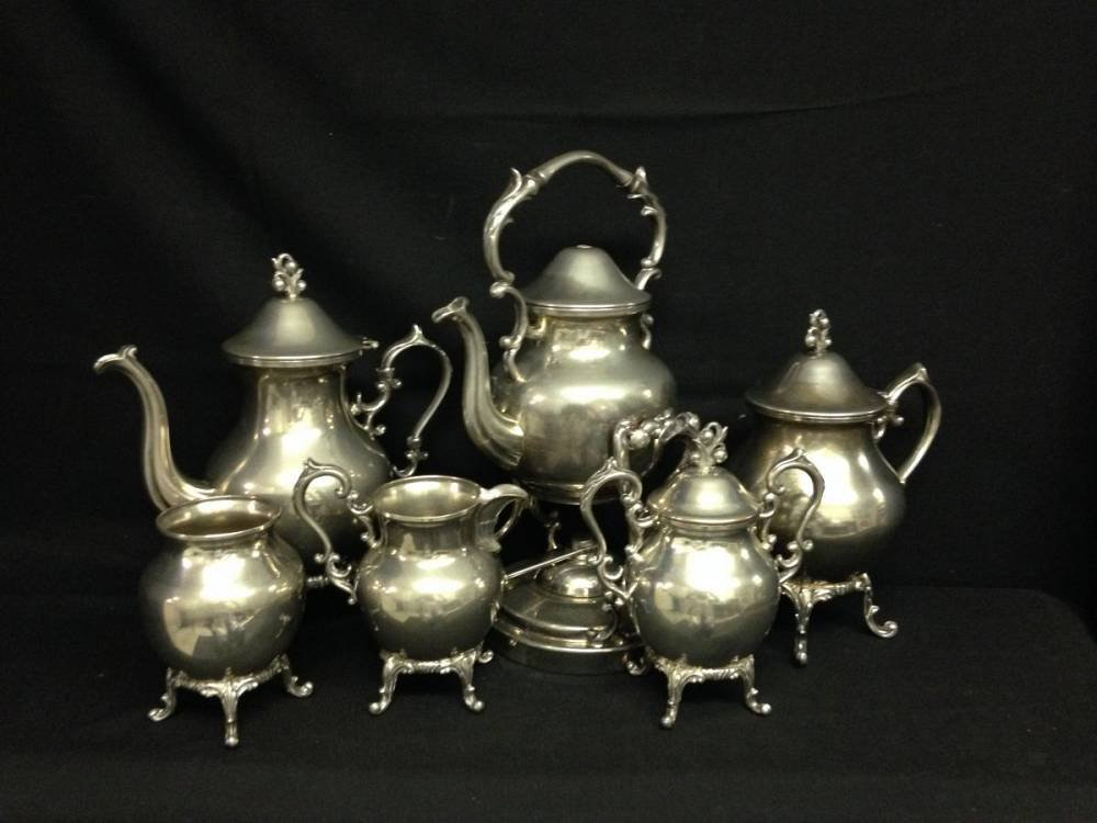 Silver On Copper Coffee And Tea Set