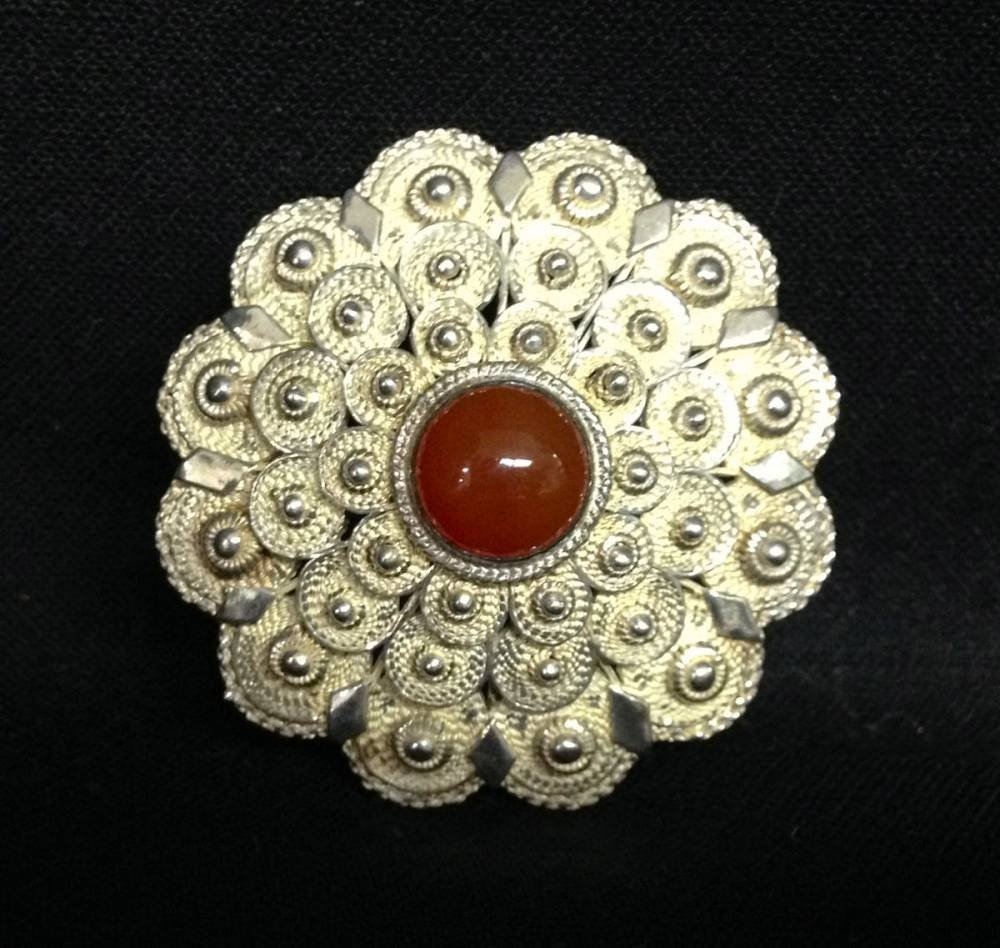 Silver Pin With Brown Stone Center