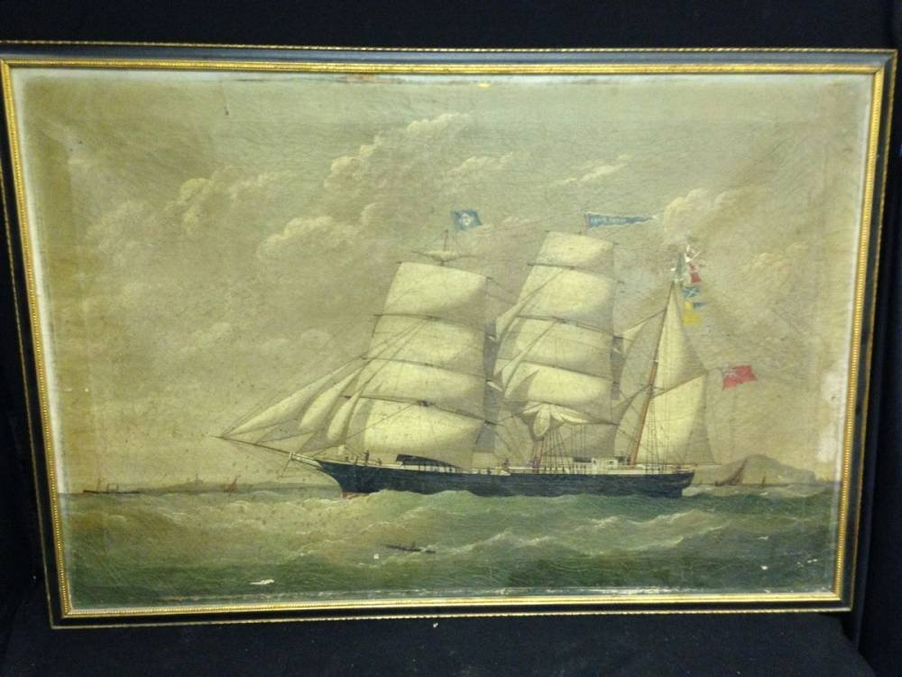 Framed Oil Painting  Ship At Sea 37x26 some repair