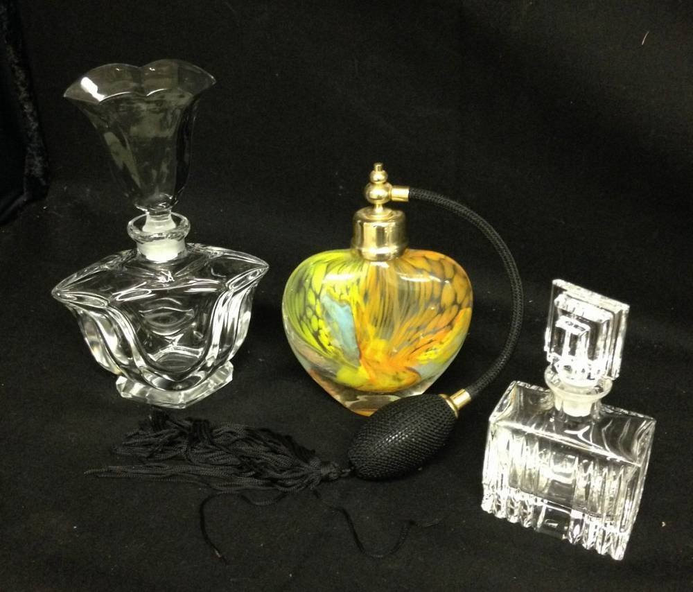 Lot Of 3 Perfume Bottles, Murano Glass and Crystal
