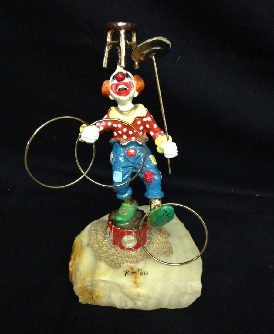 Ron Lee Signed Bronze Clown Approx 9.5 Inches Tall