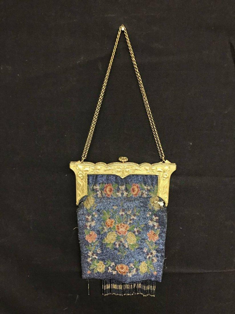 Cut Steel Beaded Bag Blue Floral