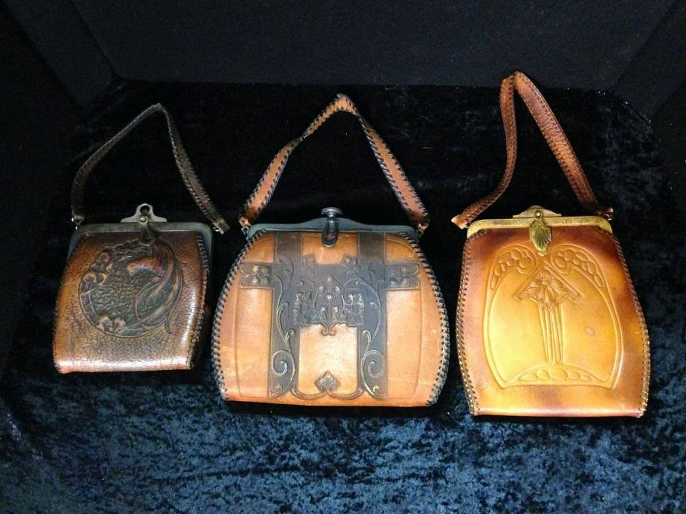 Lot Of 3 Arts And Crafts Leather Purses