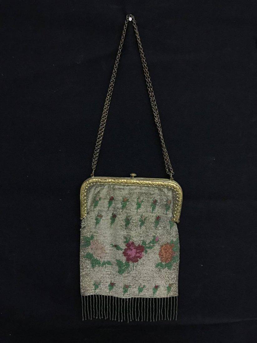 Cut Steel Beaded Bag Pink Floral