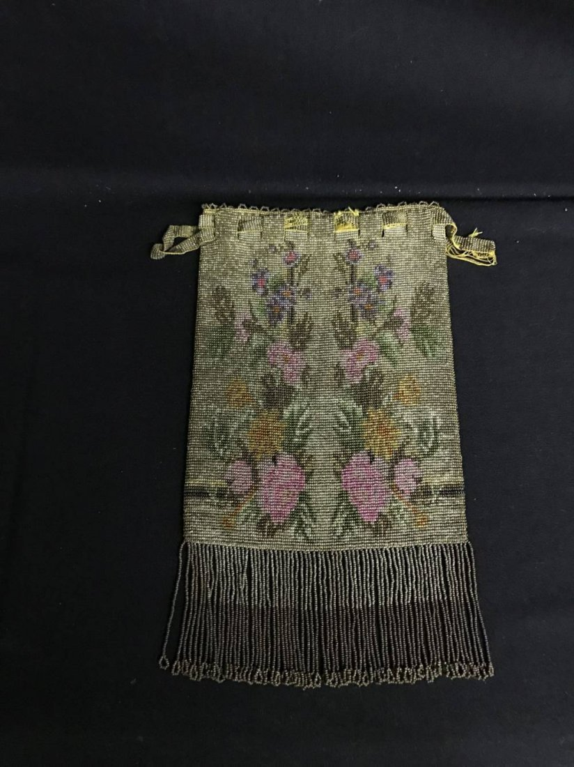 Cut Steel Beaded Bag Pink And Yellow Floral