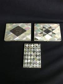 Lot Of 3 Mother Of Pearl Card Cases Various Conditions
