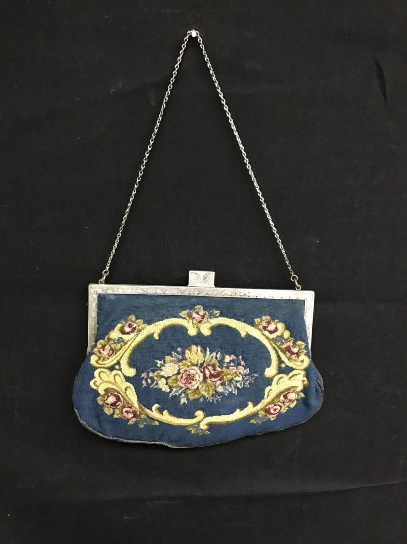 Antique Petite Point Pocketbook With 800 Silver Frame