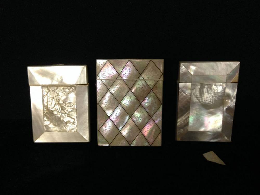Lot Of 3 Mother Of Pearl Card Cases Some Losses