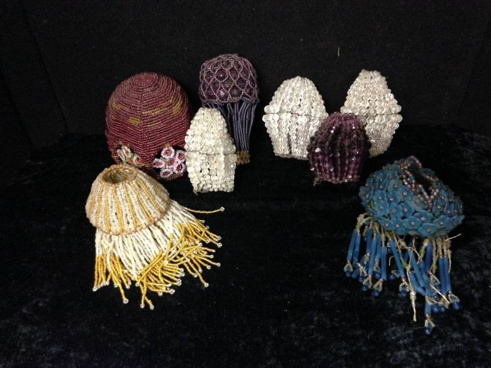 Lot Of 7 Czech Antique Beaded Lampshades Various Sizes