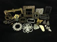 Lot Of Antique Buckles And Purse Closers Many Cut Steel