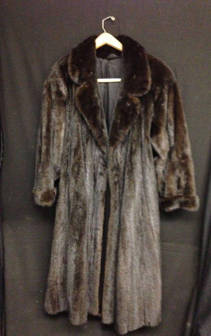 Black Mink Coat Belted Back Size Small