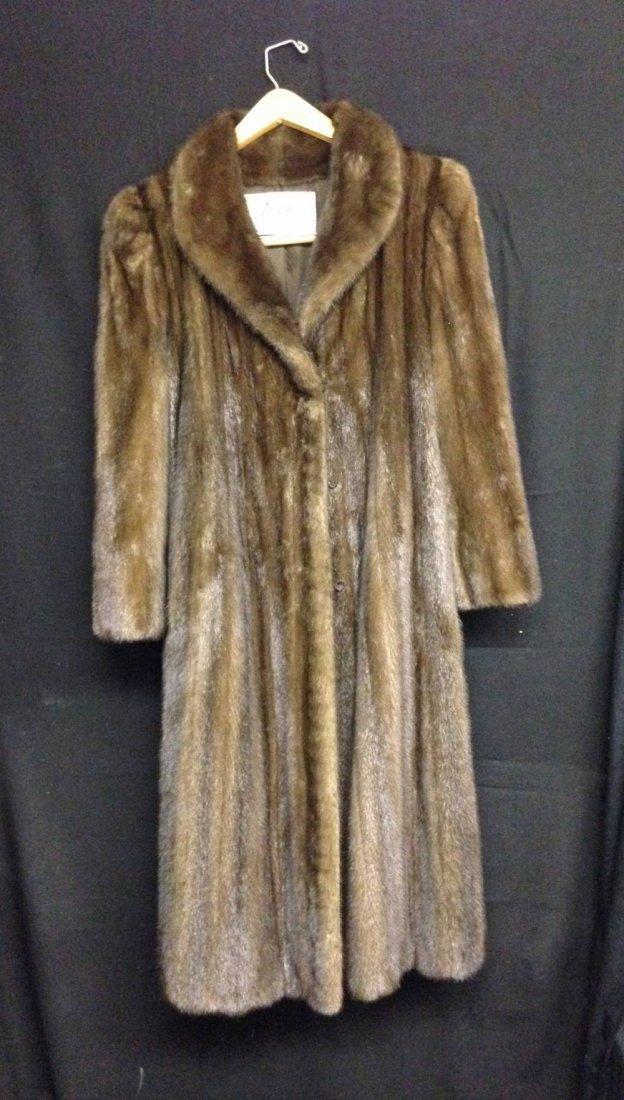 Brown Mink Coat Shawl Collar Size Small