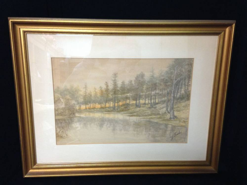 Illegible Signed Watercolor Of The Forest At Sun Set