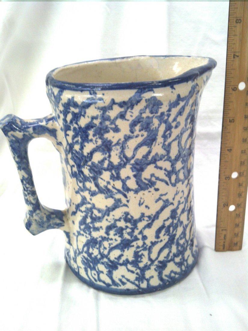 Blue spongeware water pitcher