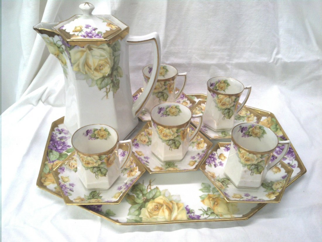 CS Prussia 5 cup and saucer chocolate set with tray