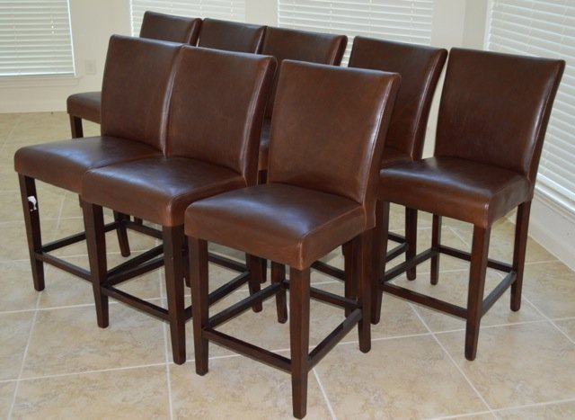New: Brown Leather Pub Counter Height Chairs (qty 8)