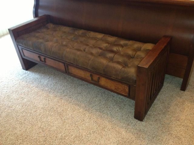 Mission Style Leather Storage Bench