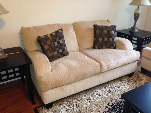 Ashley Furniture: Beige Corded Velvet Loveseat
