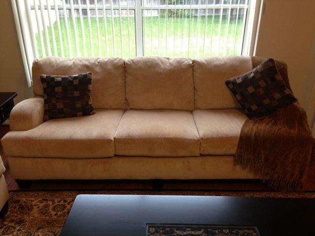 Ashley Furniture: Beige Corded Velvet Sofa