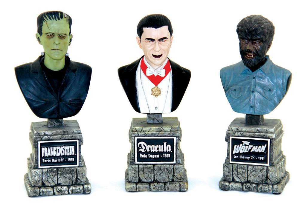 Three Sideshow Collectibles Legacy Monster Busts