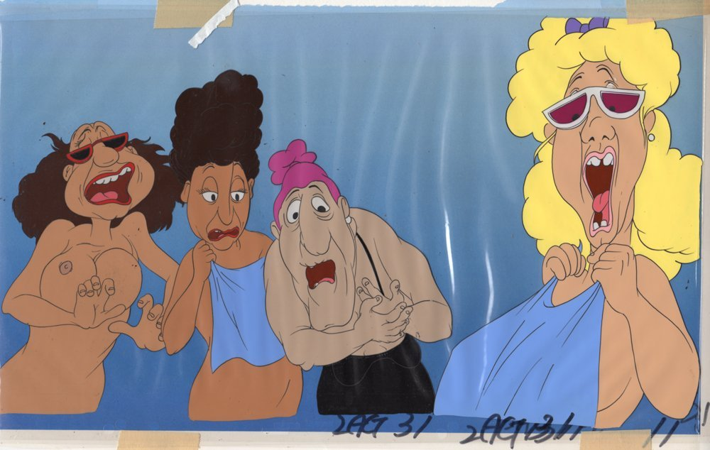 Production Cel of 4 Nude Women from Heavy Traffic