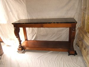 1: Antique Heavily Carved Marble Top Console