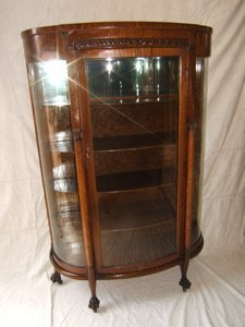 2: Antique Heavily Carved Curved Glass China Cabinet