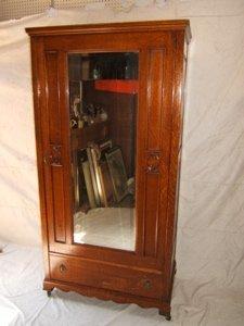 4: Antique Victorian Style Oak Armoire Raised Panels