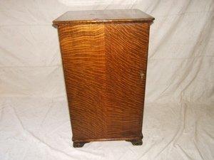 12: Antique Quarter Sawn Oak Cylinder Record Cabinet