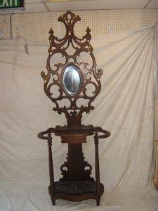 14: Antique Victorian Hall Stand Bevel Mirror Cast Iron