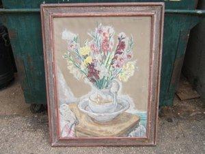 19: Antique Painting 1934 by Edmund Archer Gladiolae, P