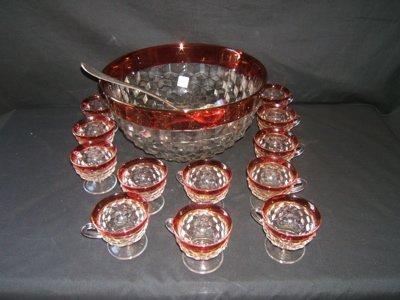 246: Antique Cranberry Glass Punch Bowl & 12 Cups