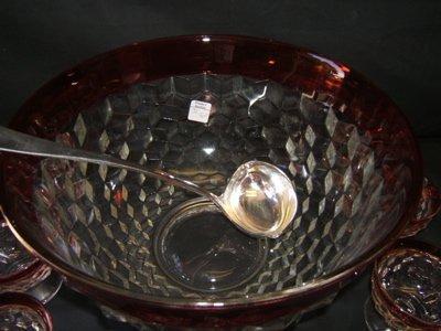 246: Antique Cranberry Glass Punch Bowl & 12 Cups - 2