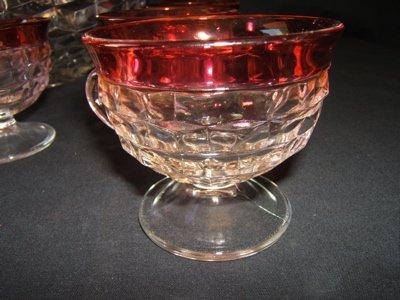 246: Antique Cranberry Glass Punch Bowl & 12 Cups - 3